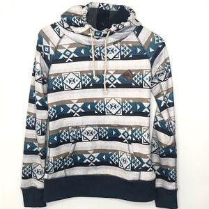 BURTON women's WB hoodie Aztec print XS teal tan
